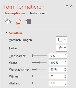Screenshot Form formatieren
